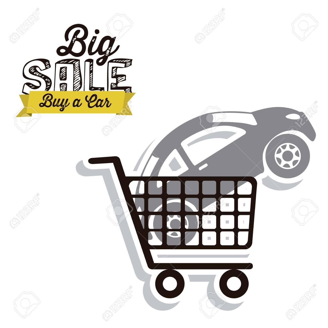 Illustration of  Big Sale label, Buy a car, vector illustration Stock Vector - 17614533