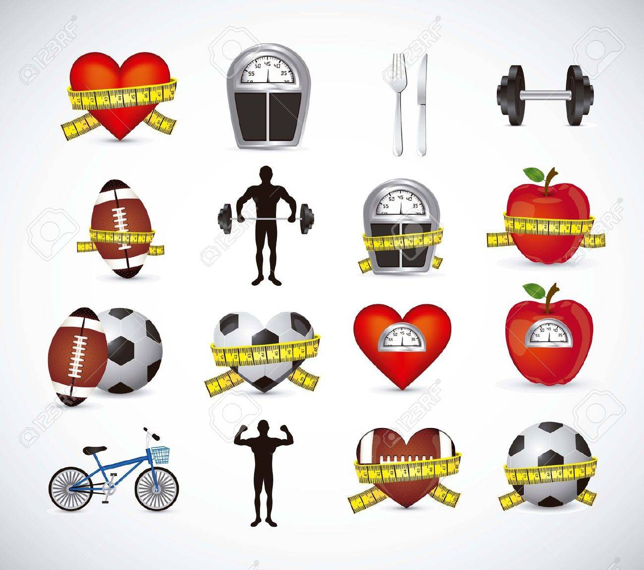 Illustration of Fitness Icons, sports and exercise, caring figure and health, vector illustration Stock Vector - 17787211