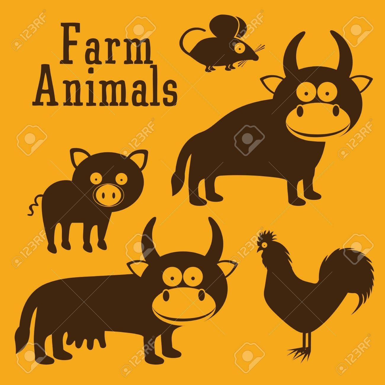 Illustration of Cute Animals. Farm Animals Icons. vector illustration Stock Vector - 17888710