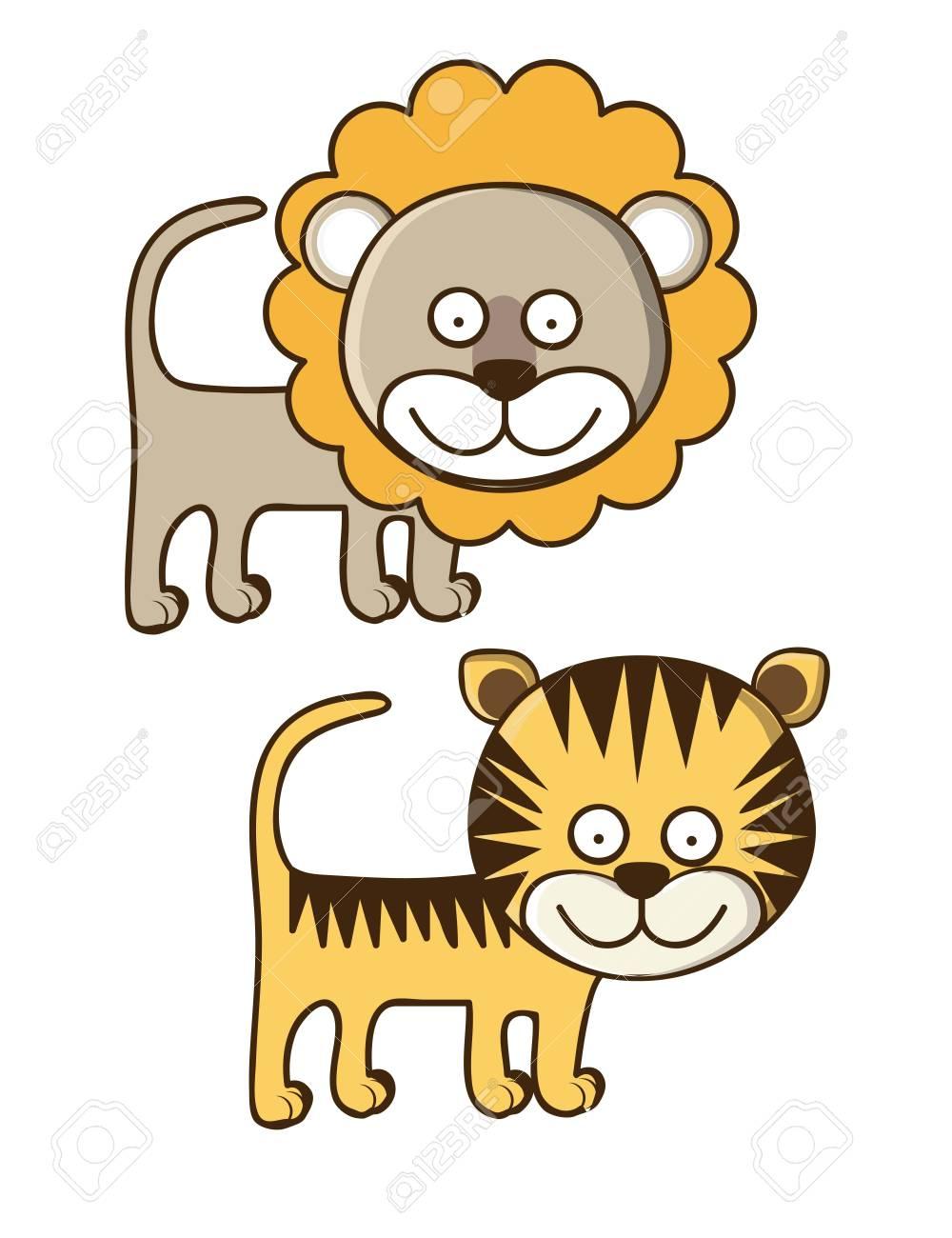 かわいい動物のイラスト。ライオンとトラのイラスト。ベクトル イラスト
