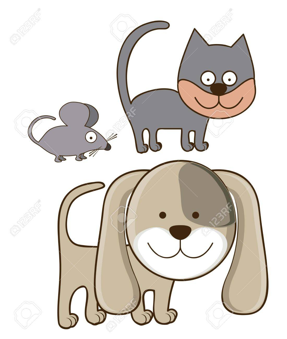 Illustration of Cute Animals. Dog, Cat and mouse illustration. vector illustration Stock Vector - 17887887