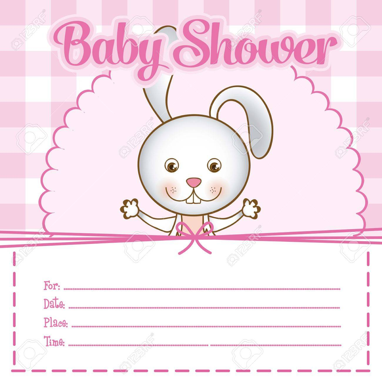Illustration Of Baby Shower Invitation With A Cute Bunny. Vector ...