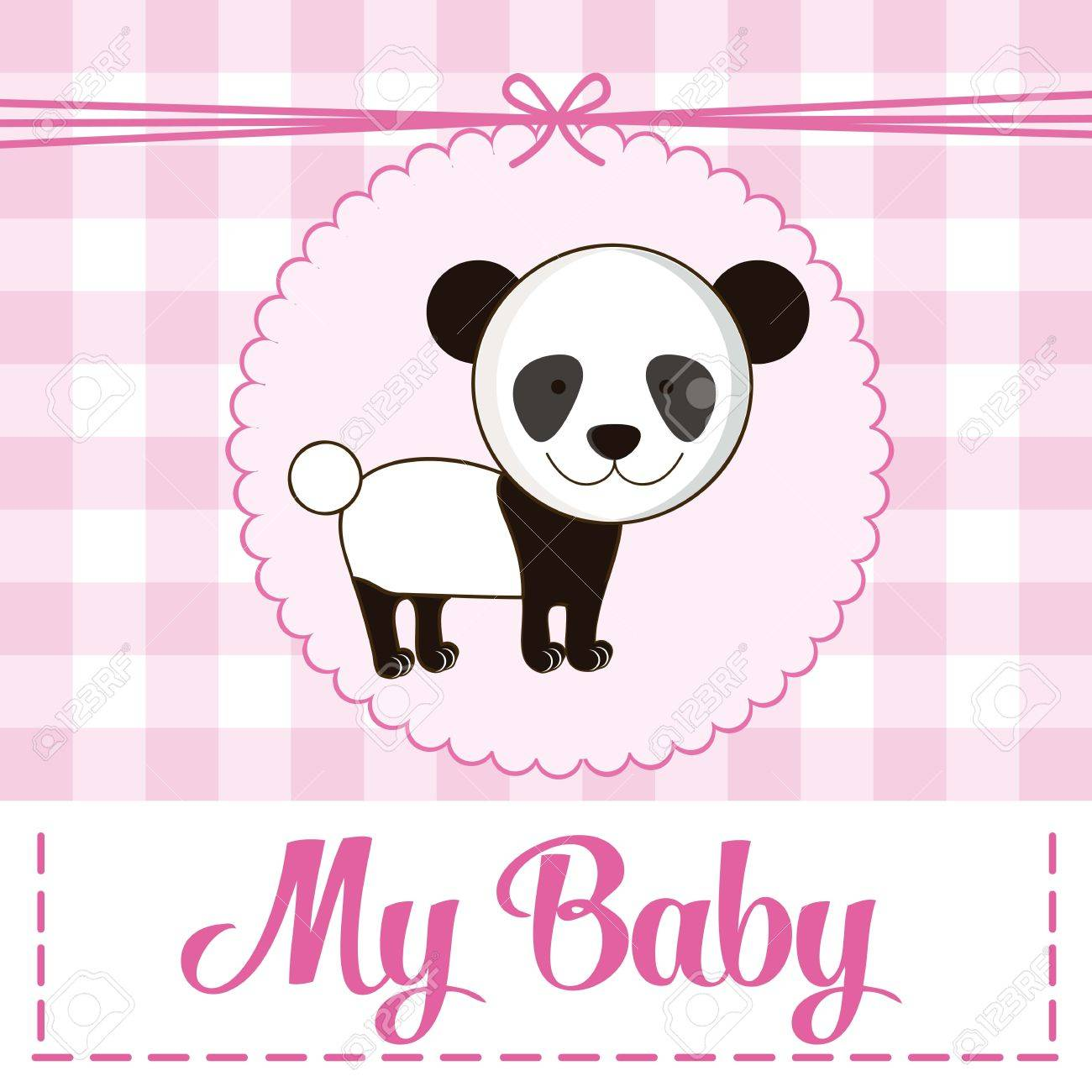 Illustration Of Baby Shower Invitation With A Cute Panda. Vector ...