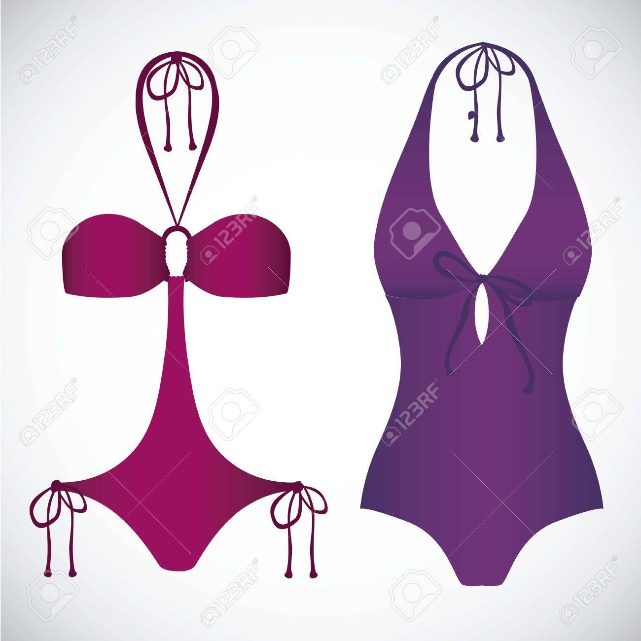 c1e29c75a26 Foto de archivo - Ilustración de los iconos del bikini. Traje de baño de  una sola pieza ilustración