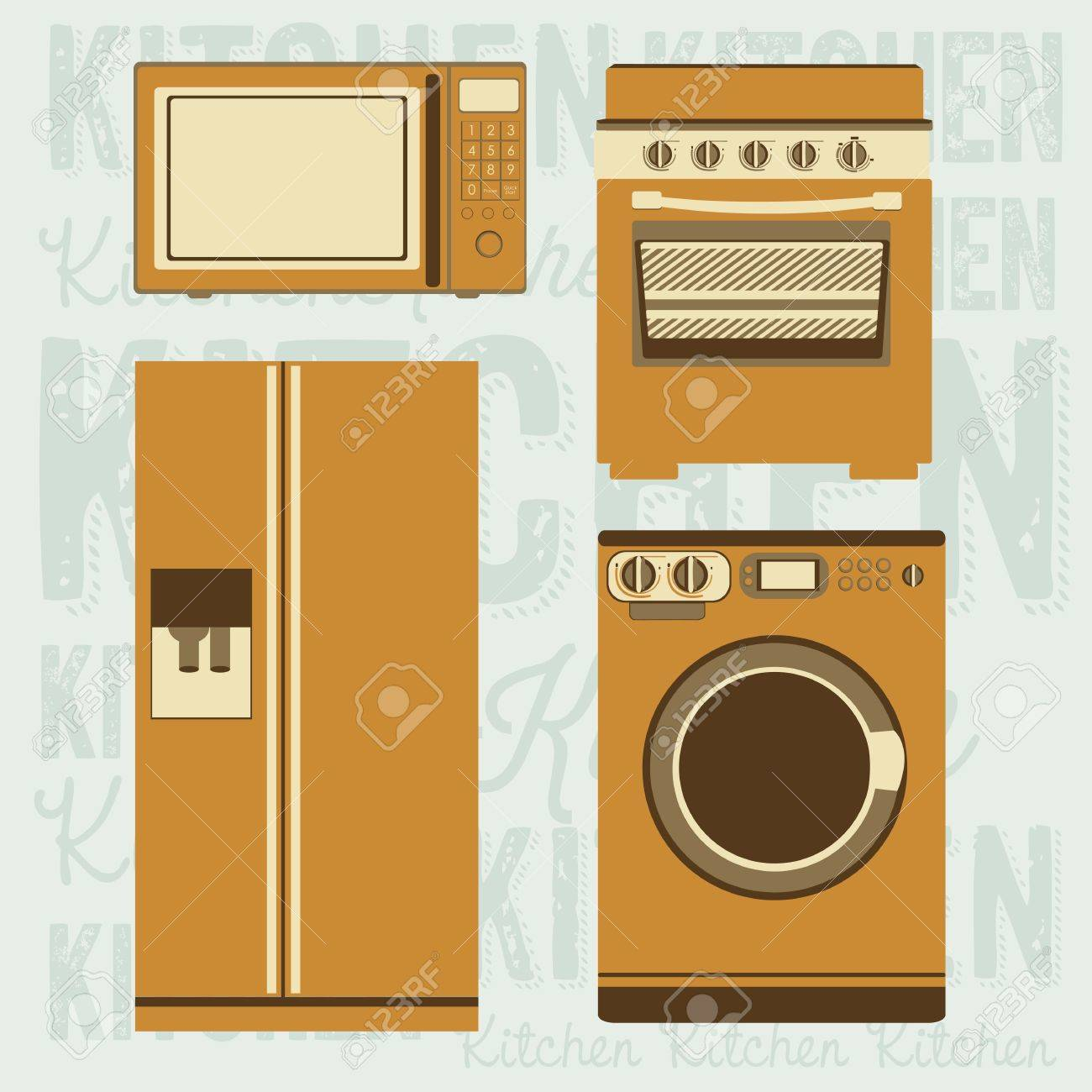 Illustration Of Kitchen Appliances Illustration Of A Microwave A Large Fridge A Washing Machine And A Stove Vector Illustration Royalty Free Cliparts Vectors And Stock Illustration Image 18334977