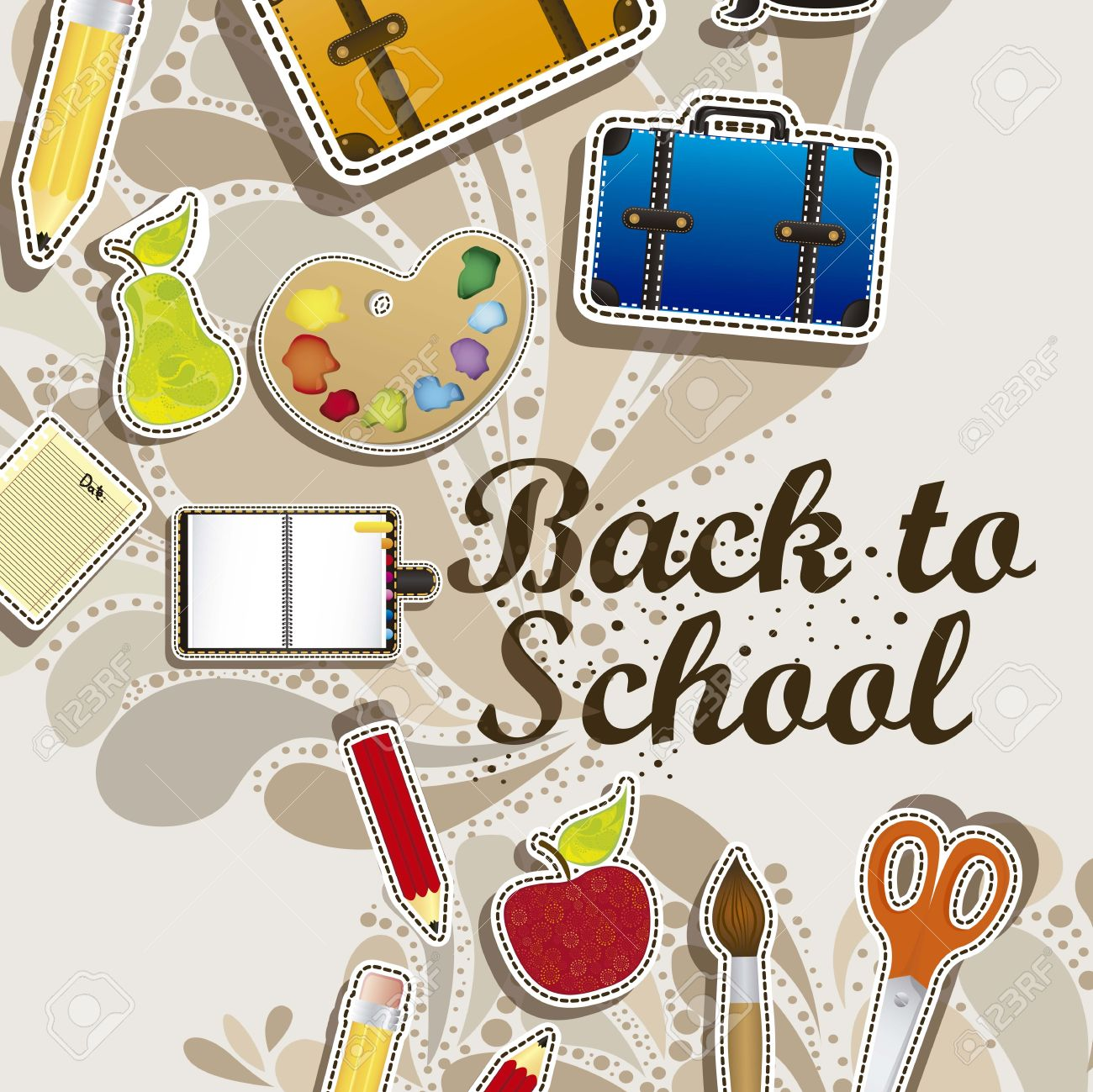 Illustration of back to school, school supplies, vector illustration Stock Vector - 18651563