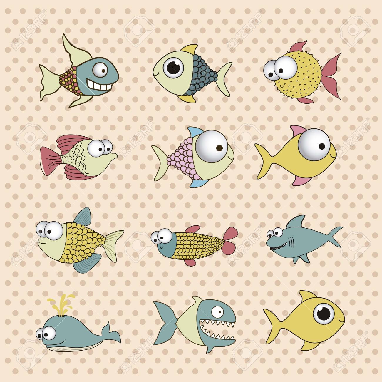 illustration of icons of fish, aquatic animals Stock Vector - 18760001
