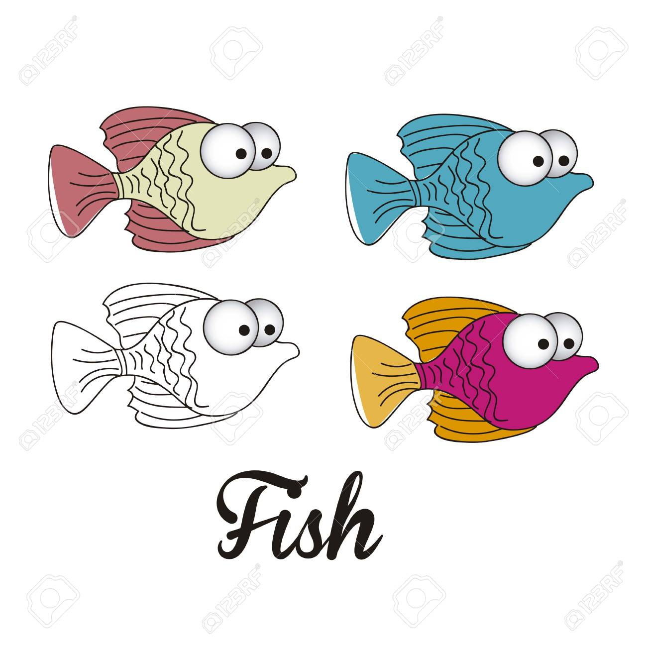 illustration of icons of fish, aquatic animals Stock Vector - 18759943