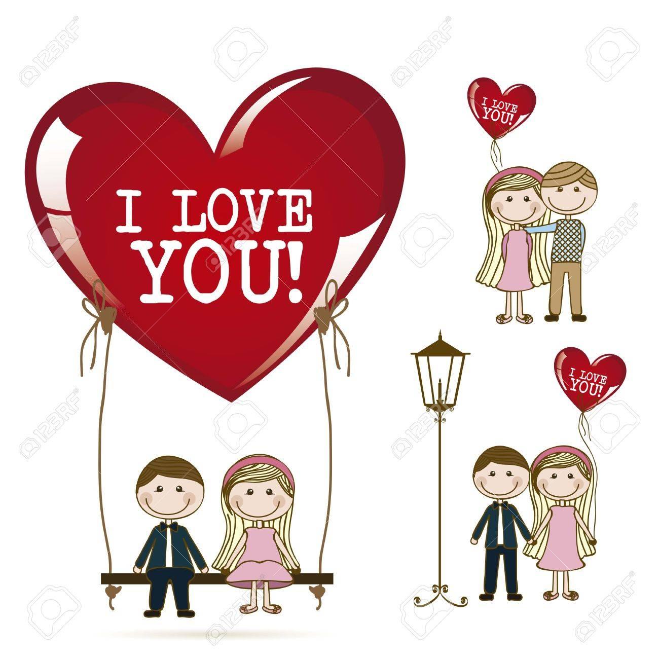 恋ではカップルのイラスト デートのイラスト素材ベクタ Image