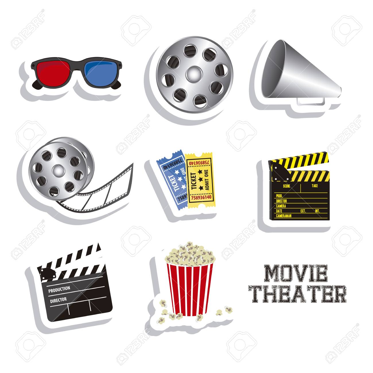 Illustration of icon of cinema, 3D cinema glasses,  director slate, popcorn, tickets, and Film reel, vector illustration Stock Vector - 18954291