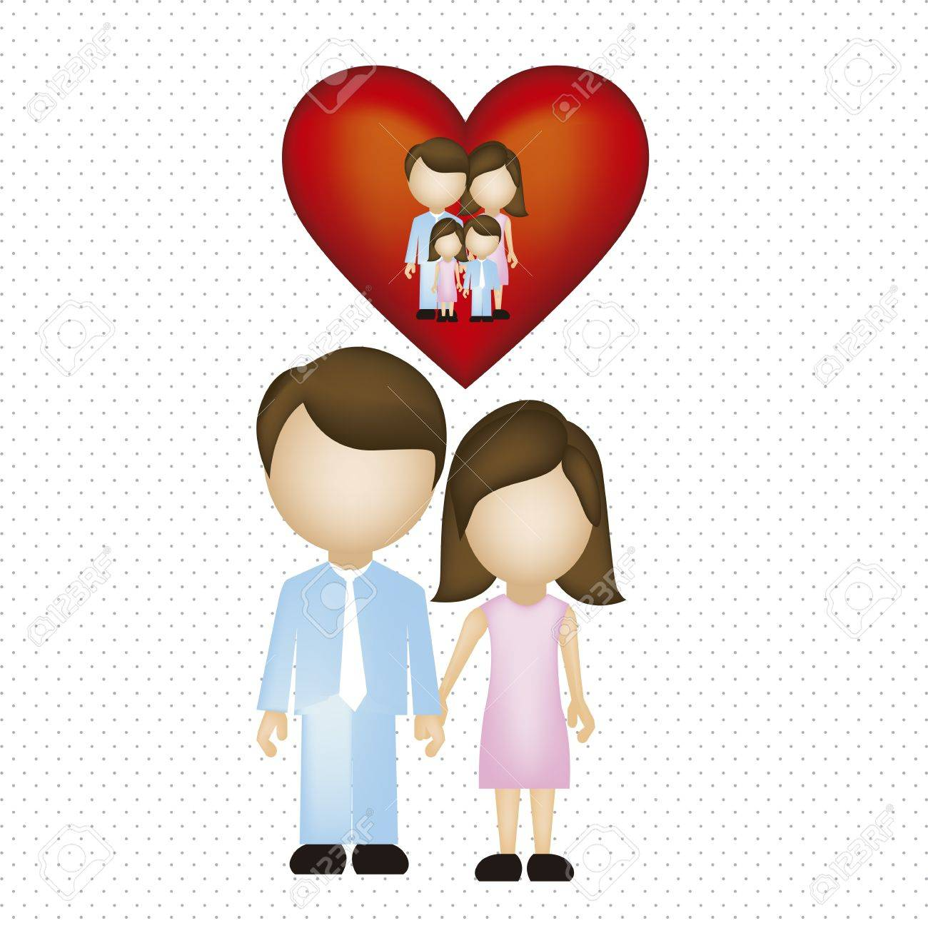 Illustration of family icons, in love, dreams to make a family, vector illustration Stock Vector - 18954273