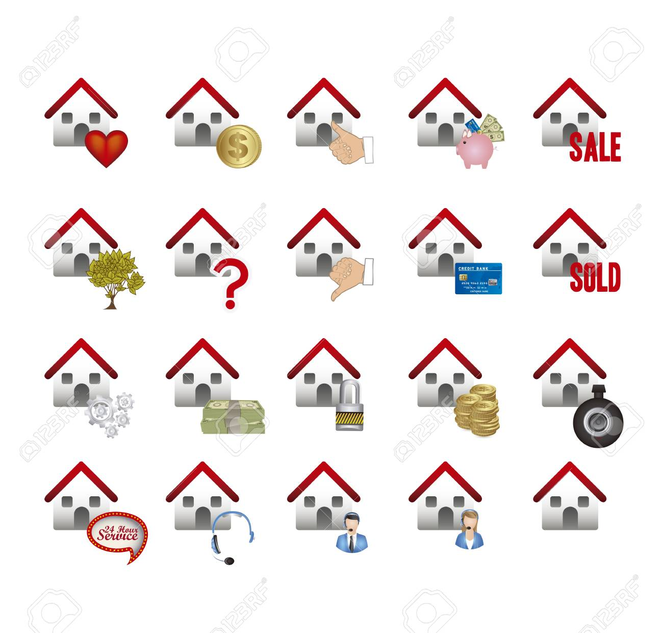 Illustration of real estate icons, conceptual icons with houses, vector illustration Stock Vector - 18954295