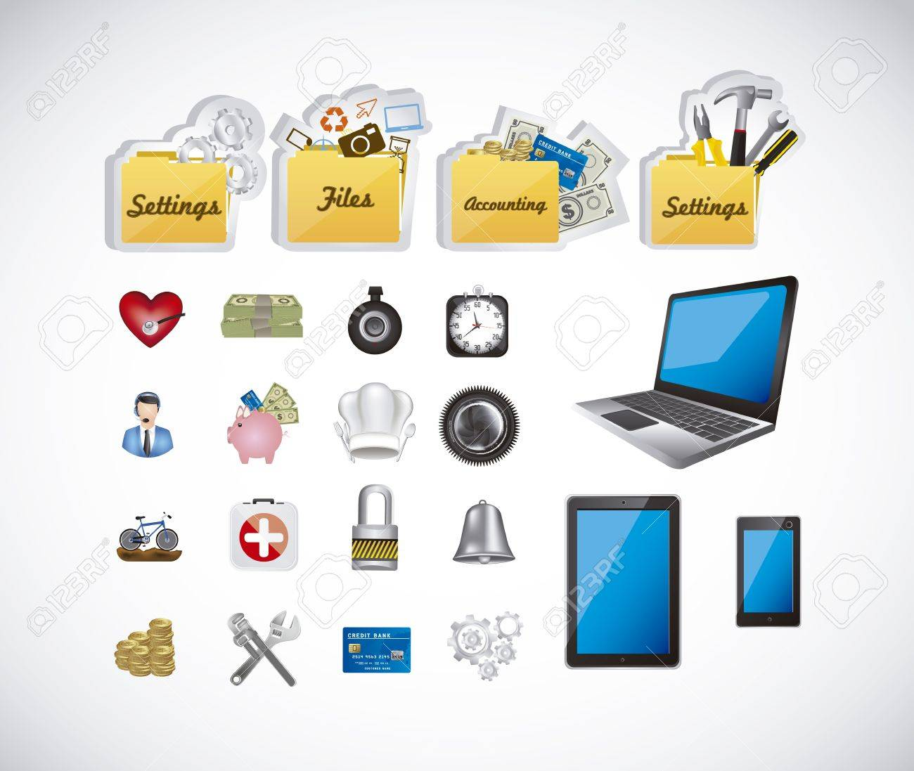Illustration of icons of applications, app icons, vector illustration Stock Vector - 19051113
