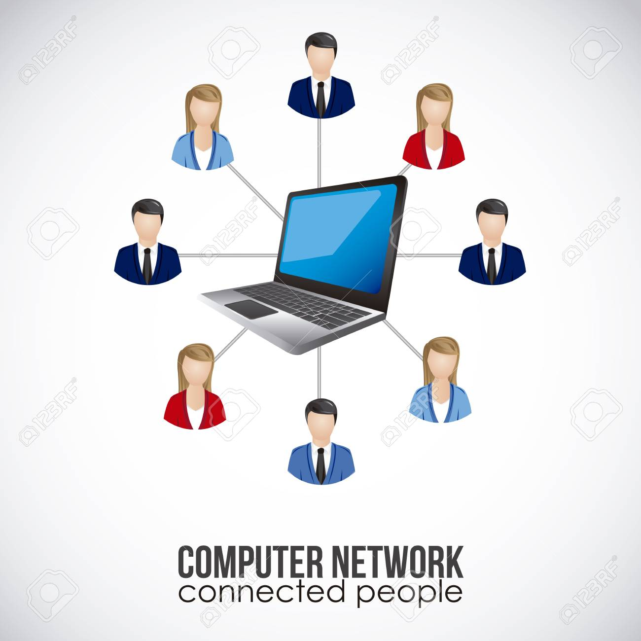 illustration of social networking and laptop connection, vector illustration Stock Vector - 19050484