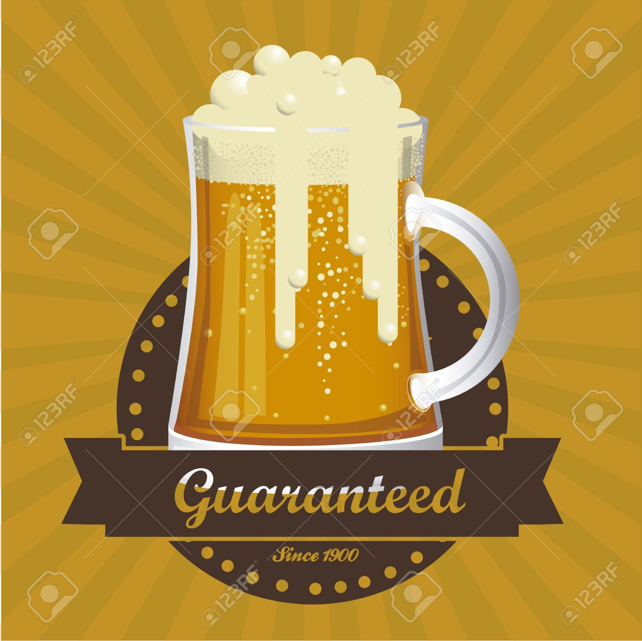 Illustration Of Beer Free Label Poster Vector Stock