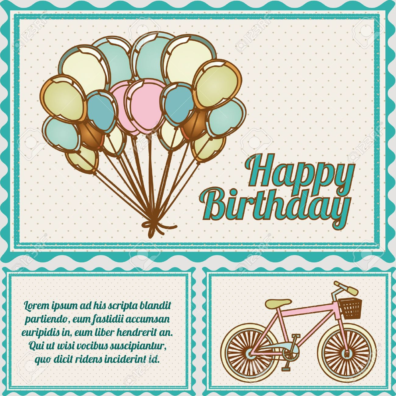 Happy birthday postcard over dotted background illustration happy birthday postcard over dotted background illustration stock vector 19918373 bookmarktalkfo Image collections