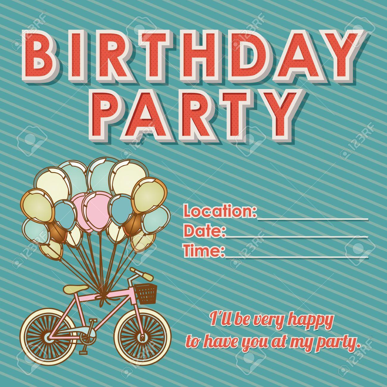 children s birthday invitation over grunge background illustration