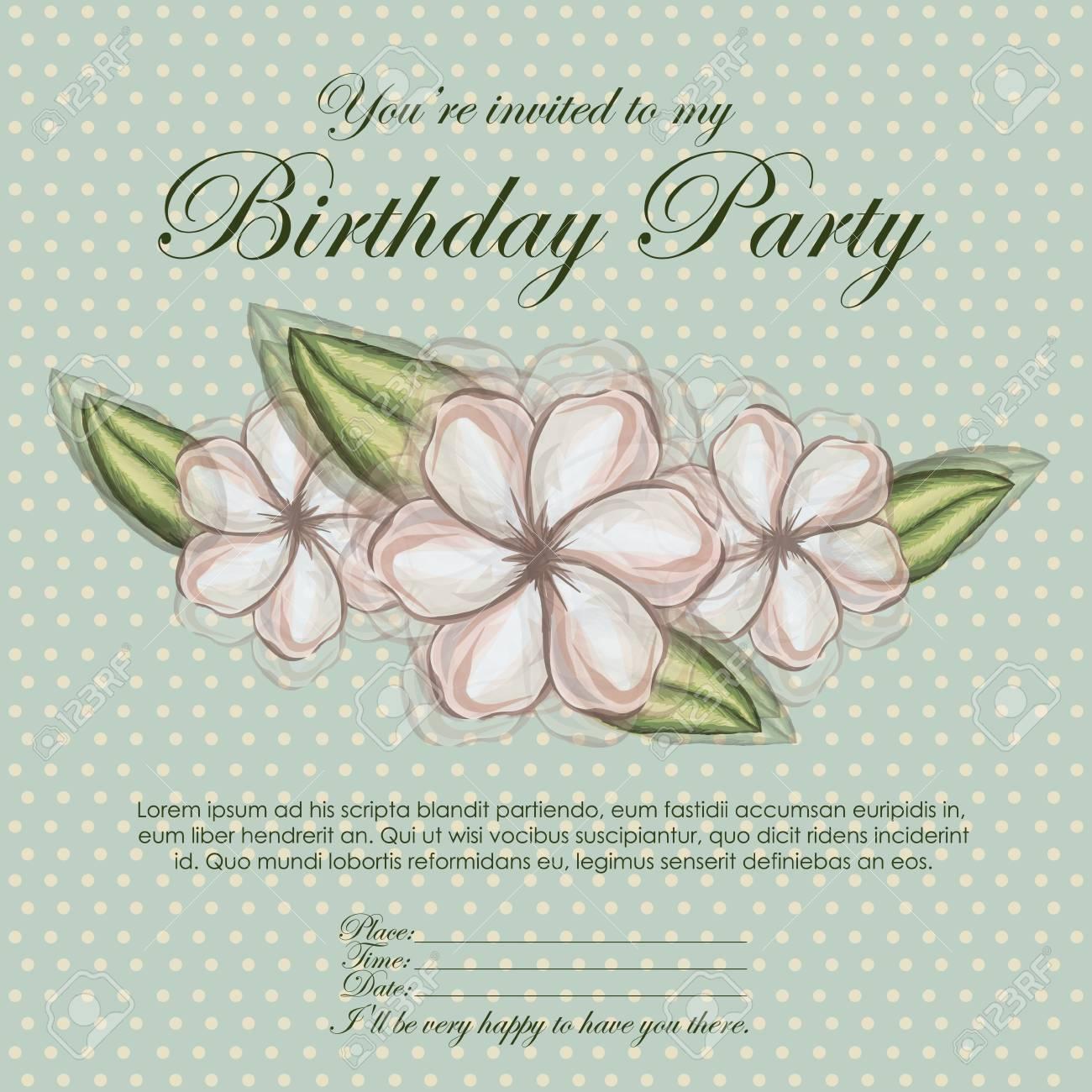 floral invitation birthday over blue background illustration Stock Vector - 19918444