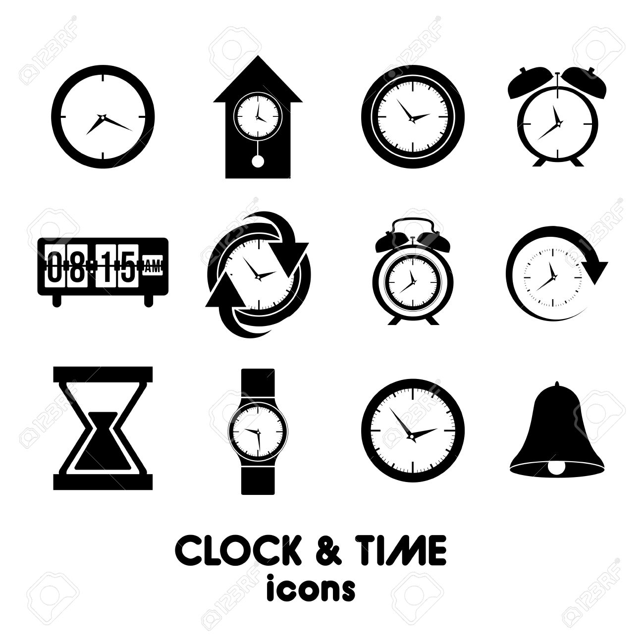 clock and time icons over white background vector illustration Stock Vector - 20192499