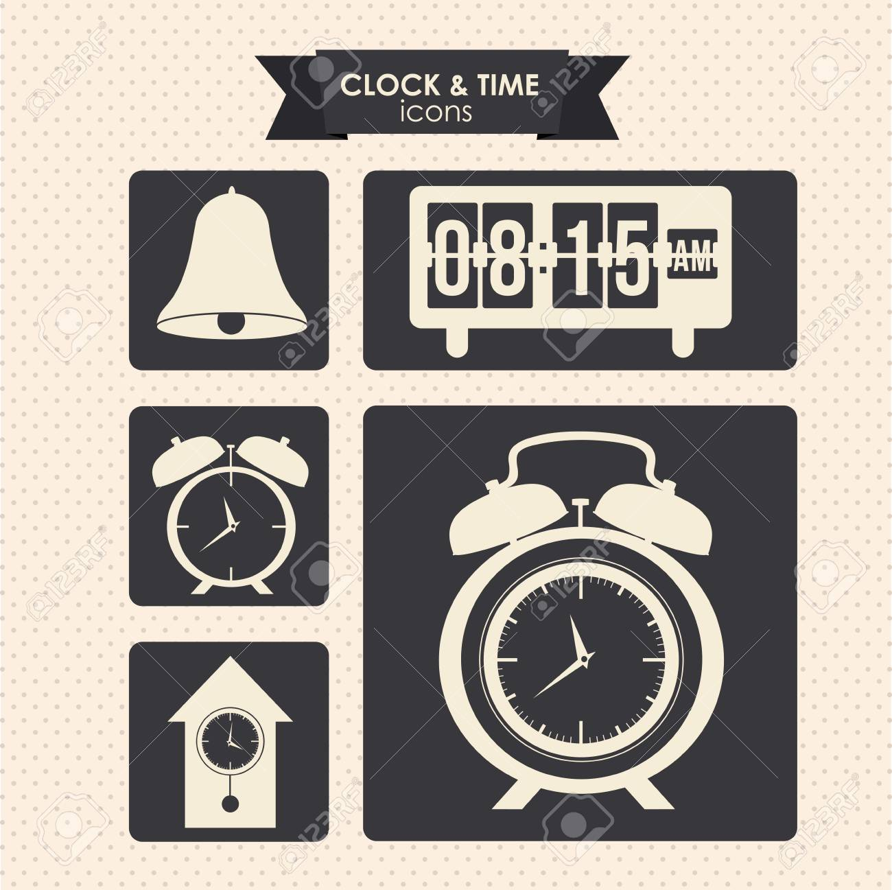 clock and time icons over dotted background vector illustration Stock Vector - 20192548