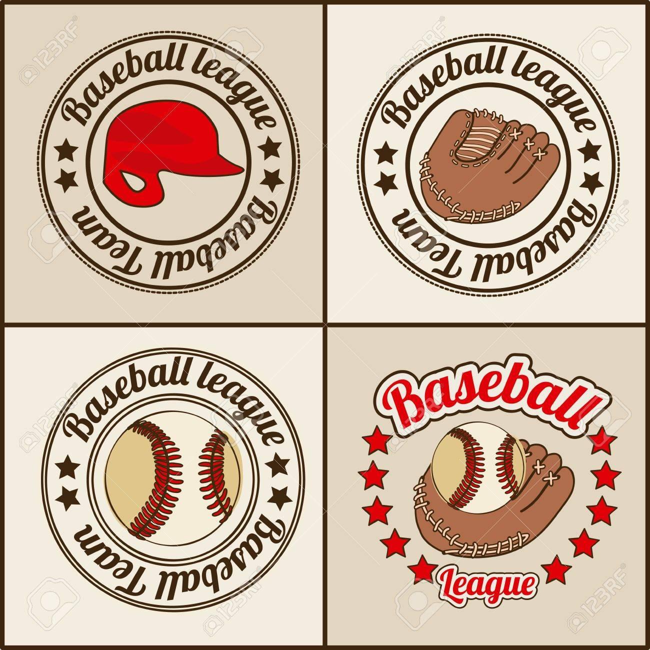 baseball seals over beige background illustration Stock Vector - 20673822