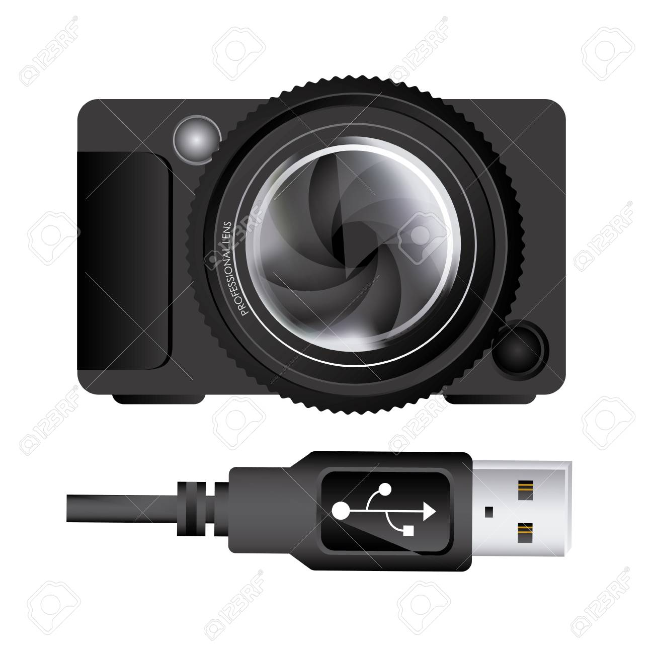 usb connection over white background vector illustration - 21295460