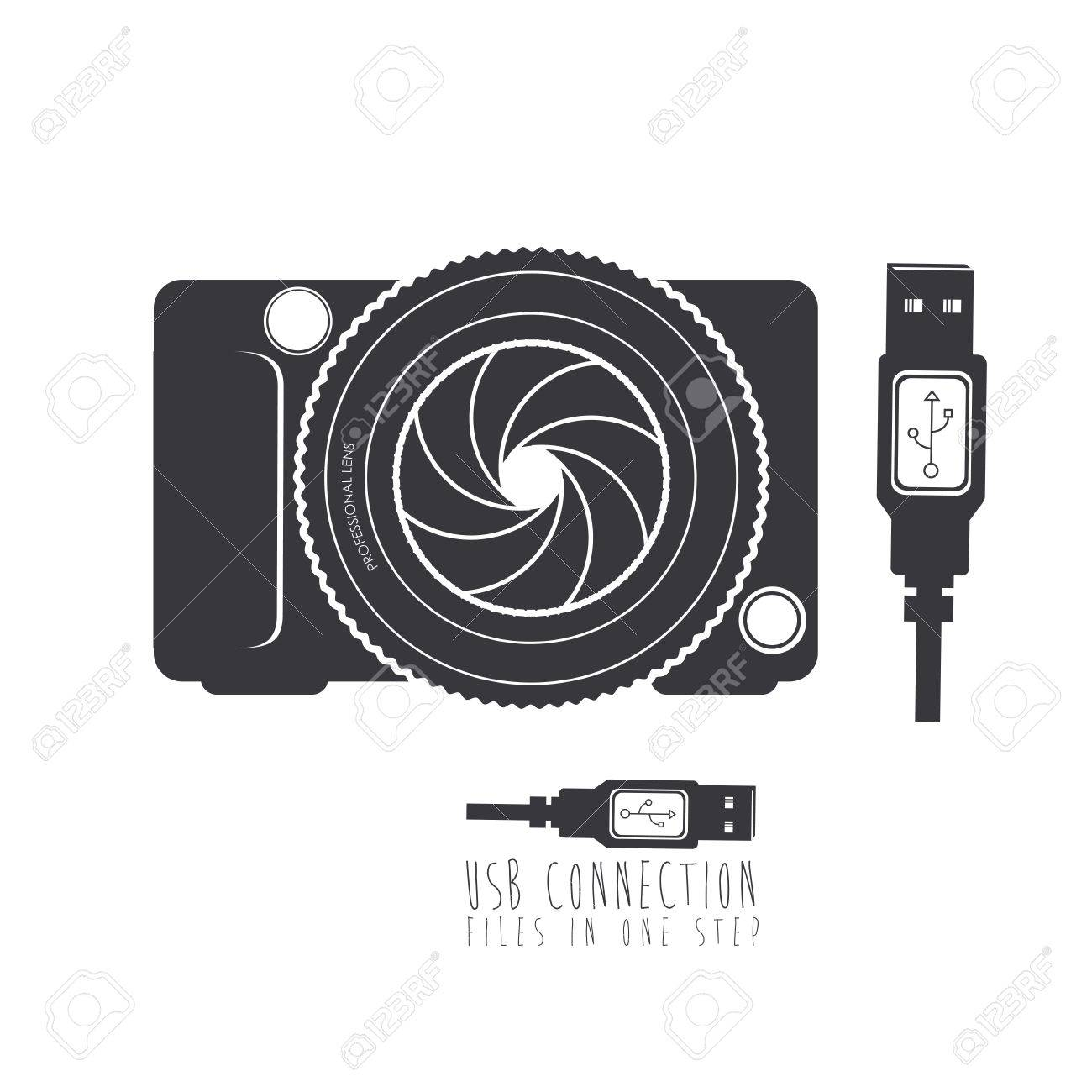 usb connection over white background vector illustration - 21295465