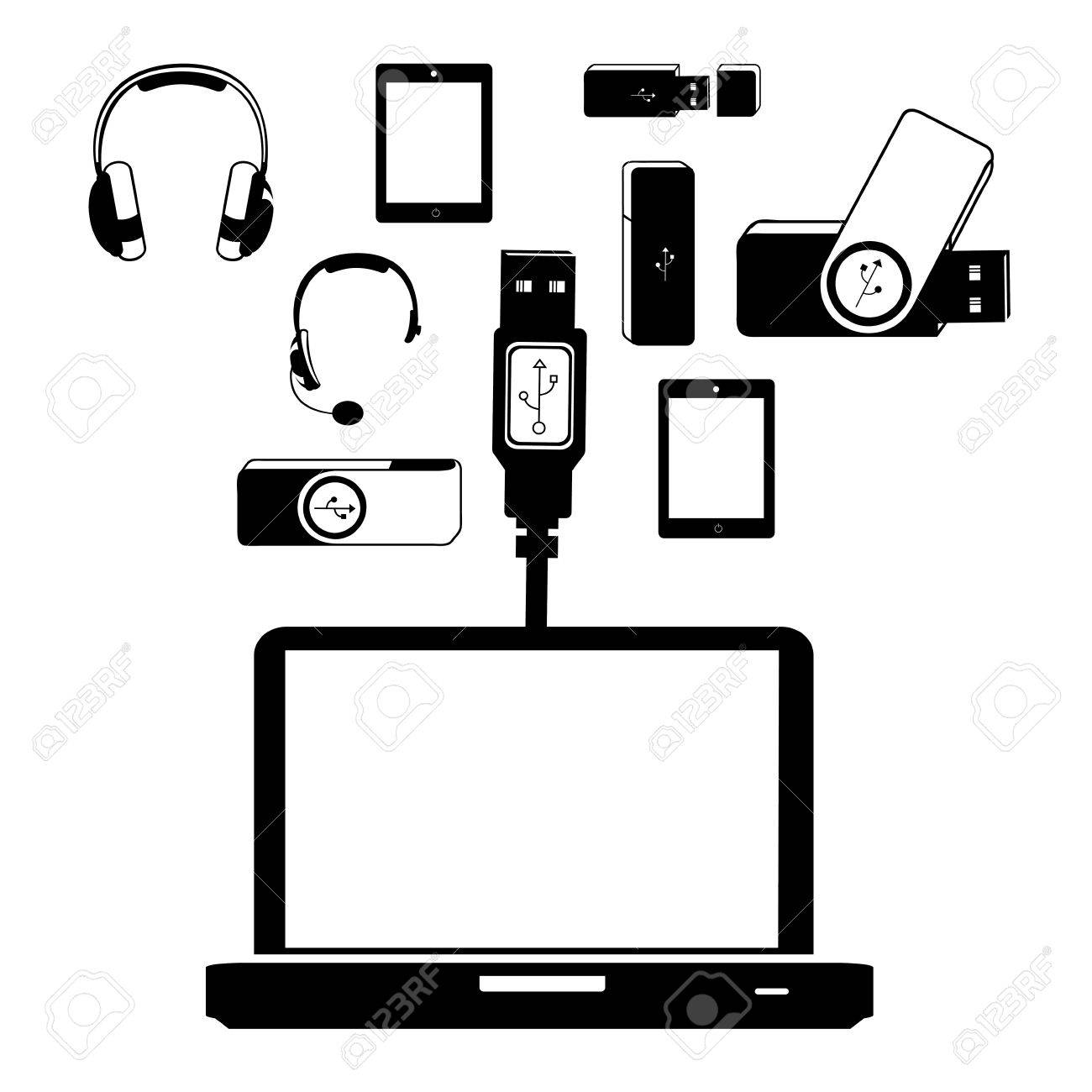 usb connection over white background vector illustration Stock Vector - 21295684