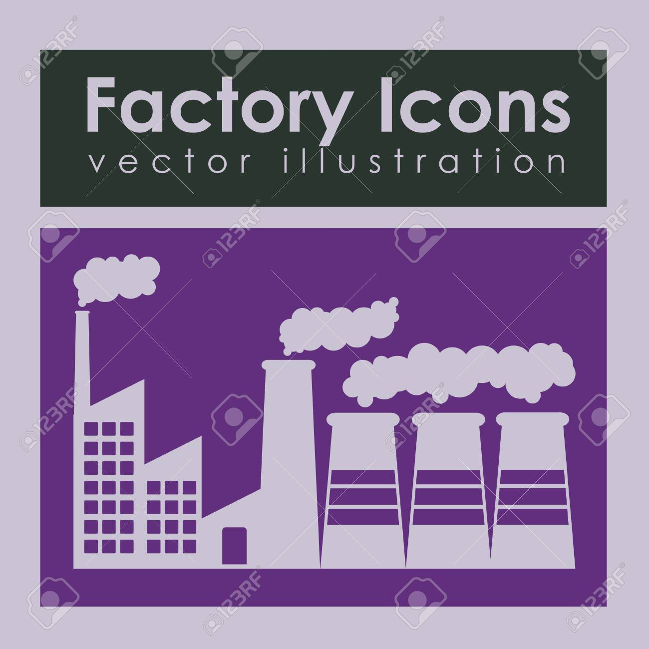 factory icons over purple background vector illustration Stock Vector - 21295758