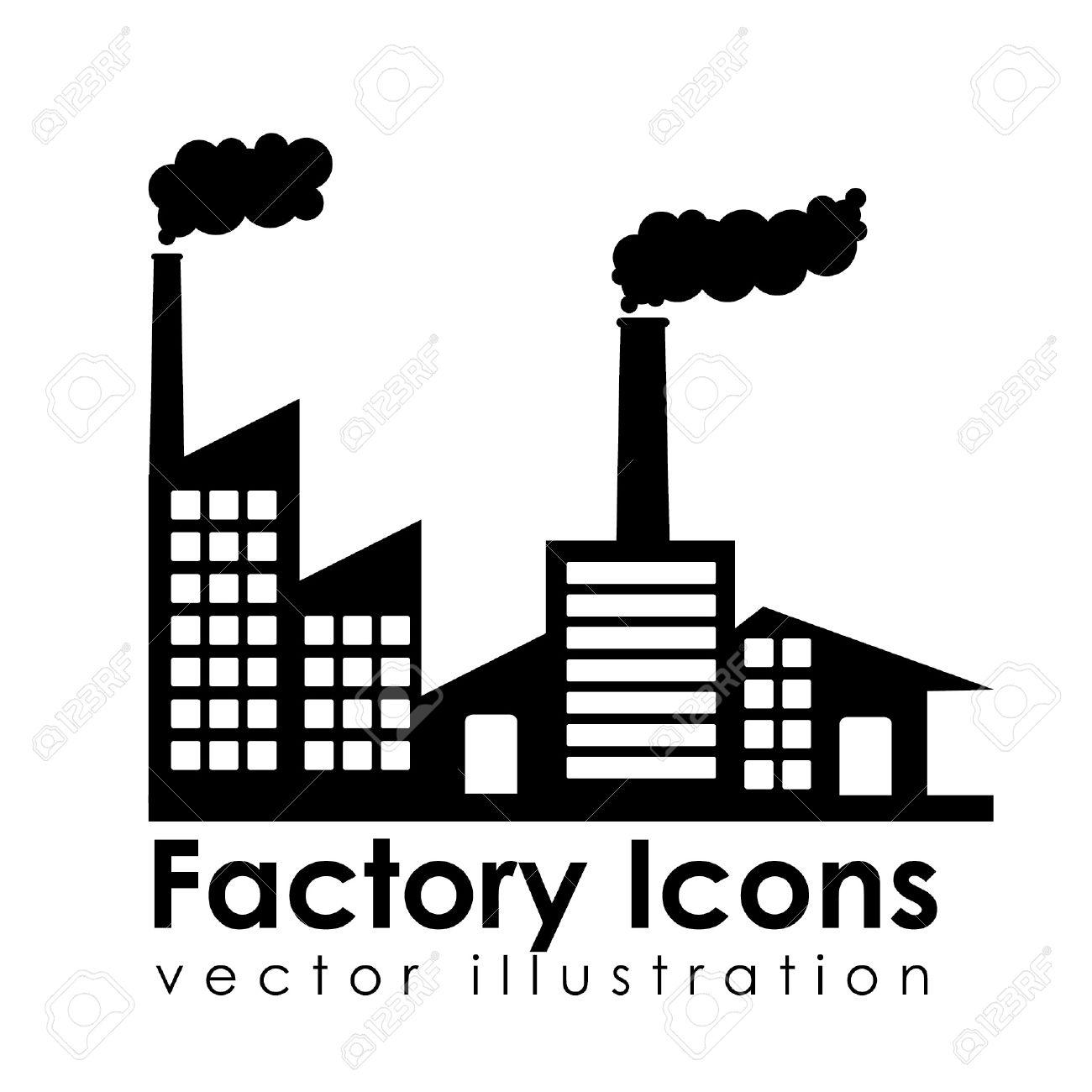 Banque Vectorielle icônes d'usine sur fond blanc illustration vectorielle clip art