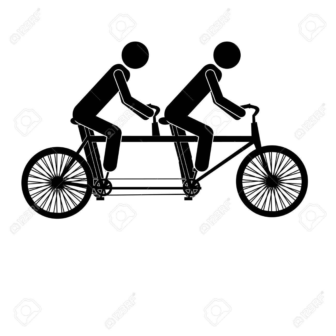 tandem bicycle over white background vector illustration royalty rh 123rf com tandem bike clipart images Tandem Bike Art
