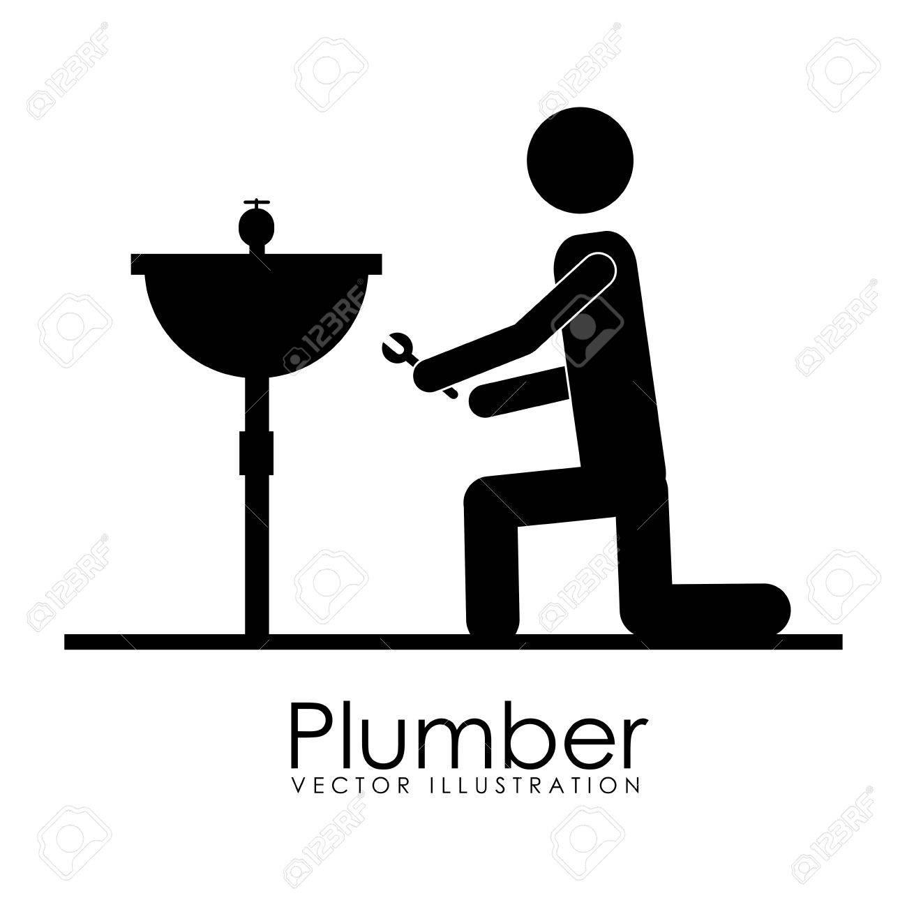 plumber icon over white background vector illustration Stock Vector - 21876598