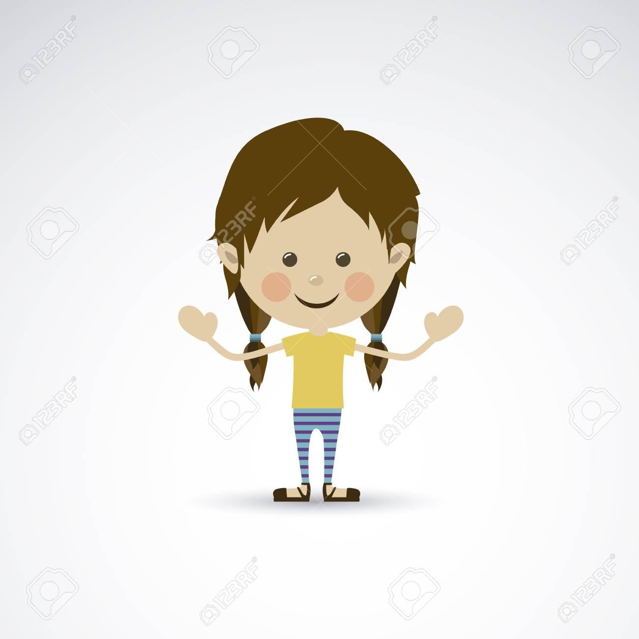 happy girl over gray background vector illustration Stock Vector - 22453316