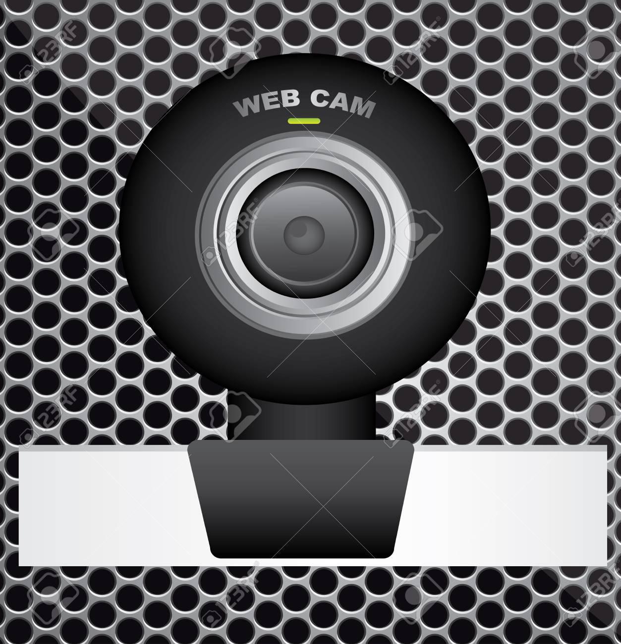 black web cam over grid  background. vector  illustration Stock Vector - 23747986