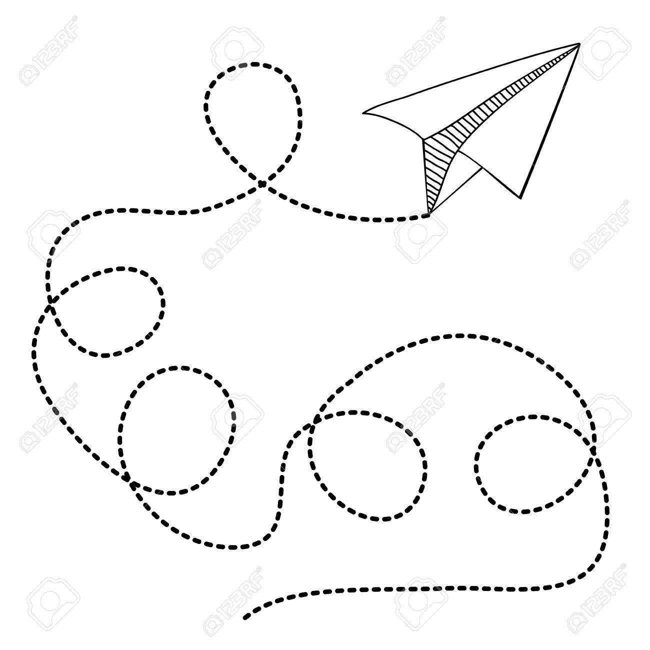 Papierflugzeug Design Auf Weißem Hintergrund, Vektor-Illustration ...