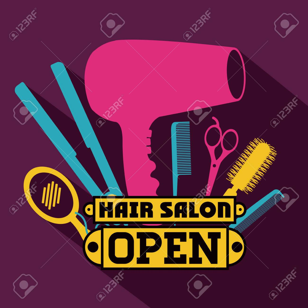 Hair salon chair isolated stock photos illustrations and vector art - Hairdressing Hair Salon Over Purple Background Vector Illustration