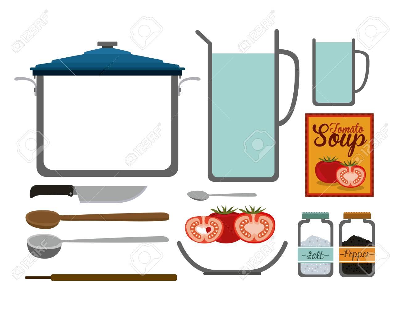 Disegno Della Cucina Su Sfondo Bianco, Illustrazione Vettoriale ...