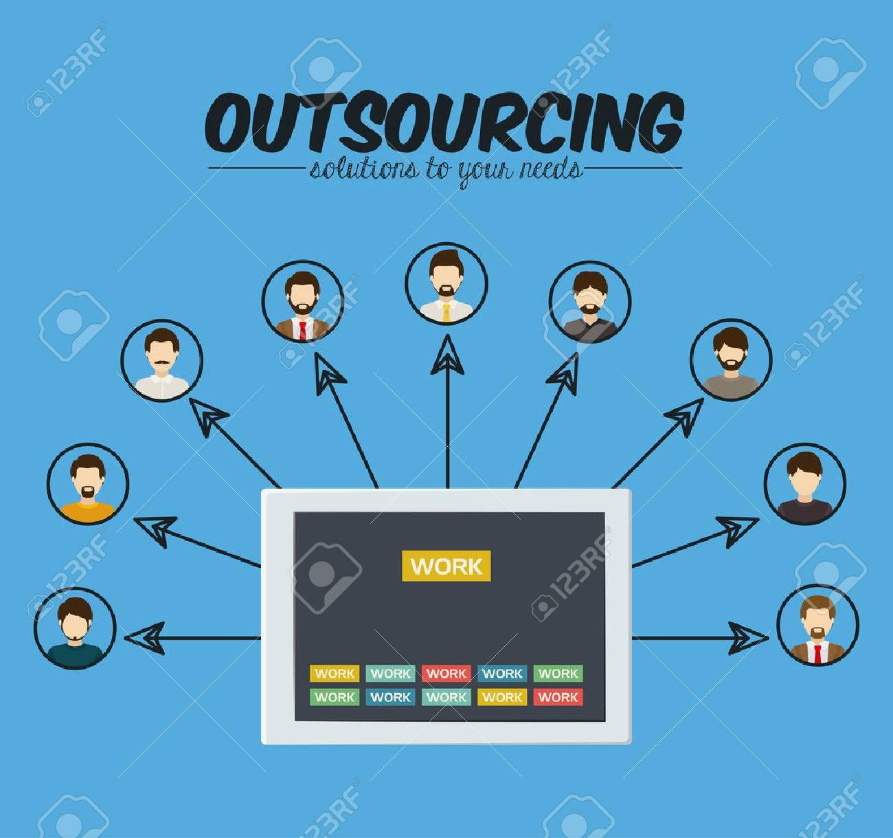 Outsourcing digital design, vector illustration - 42305077