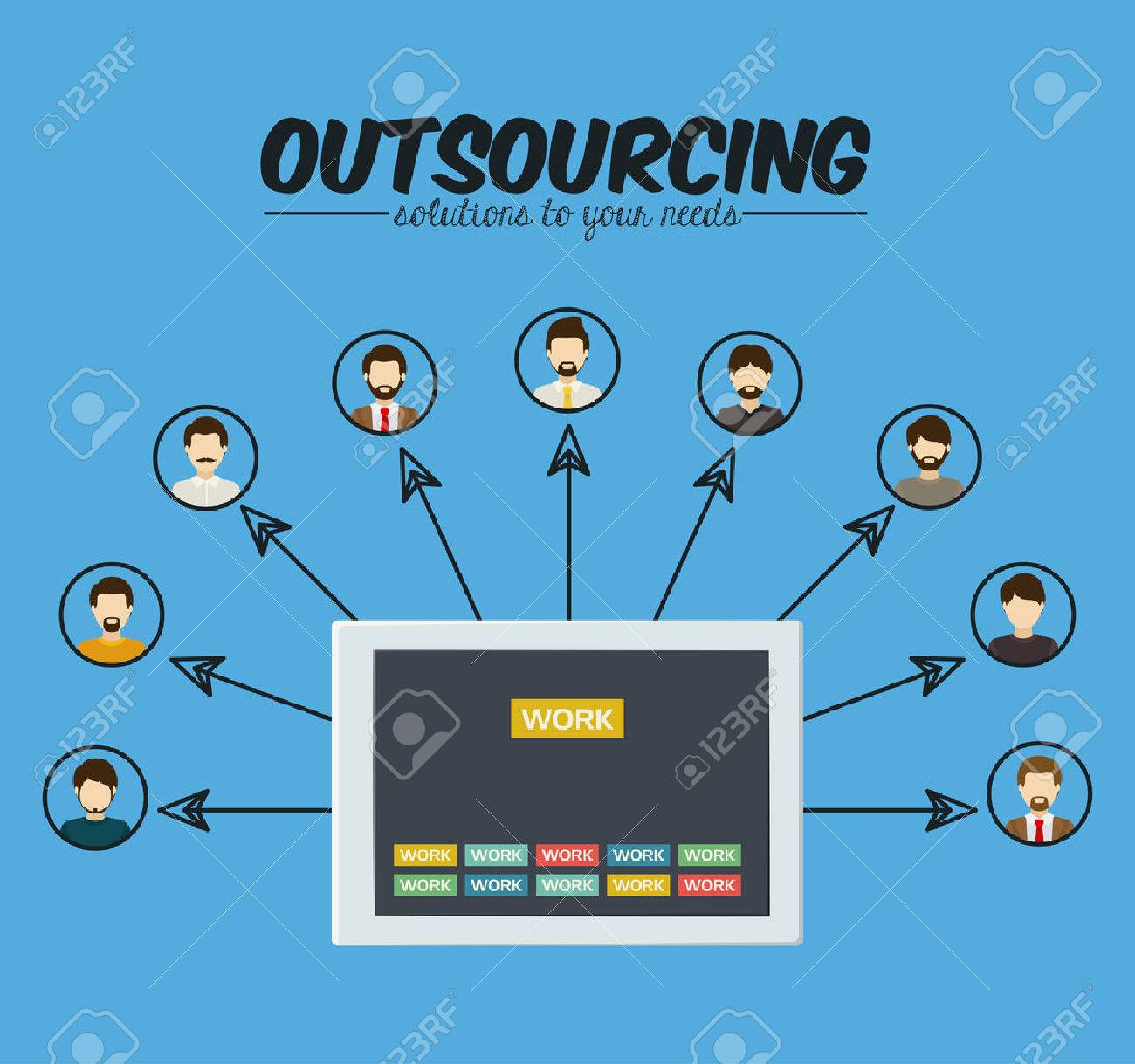 outsourcing digital design vector illustration royalty free