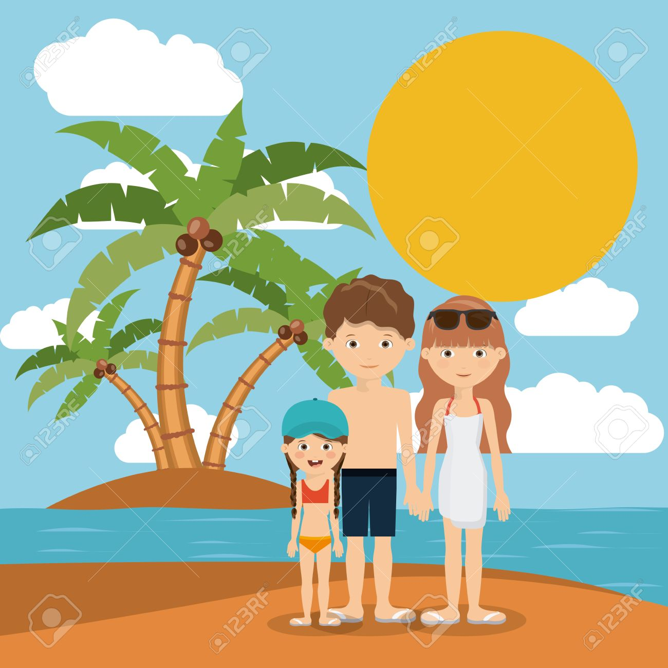 Family Beach Vacation Design Vector Illustration Eps10 Graphic Stock