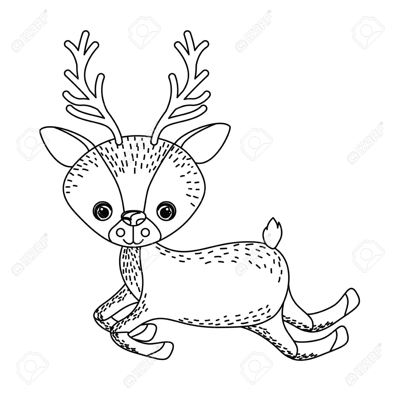 Reindeer Cute Wildlife Icon Vector Isolated Graphic Royalty Free