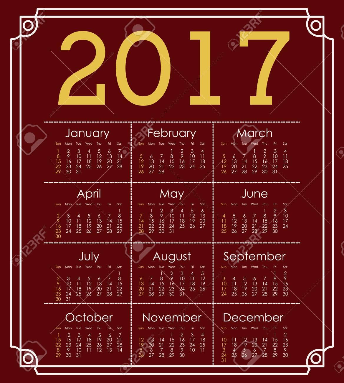 Icono De Calendario Planificador Marco Del Día De Mes 2.017 Años ...