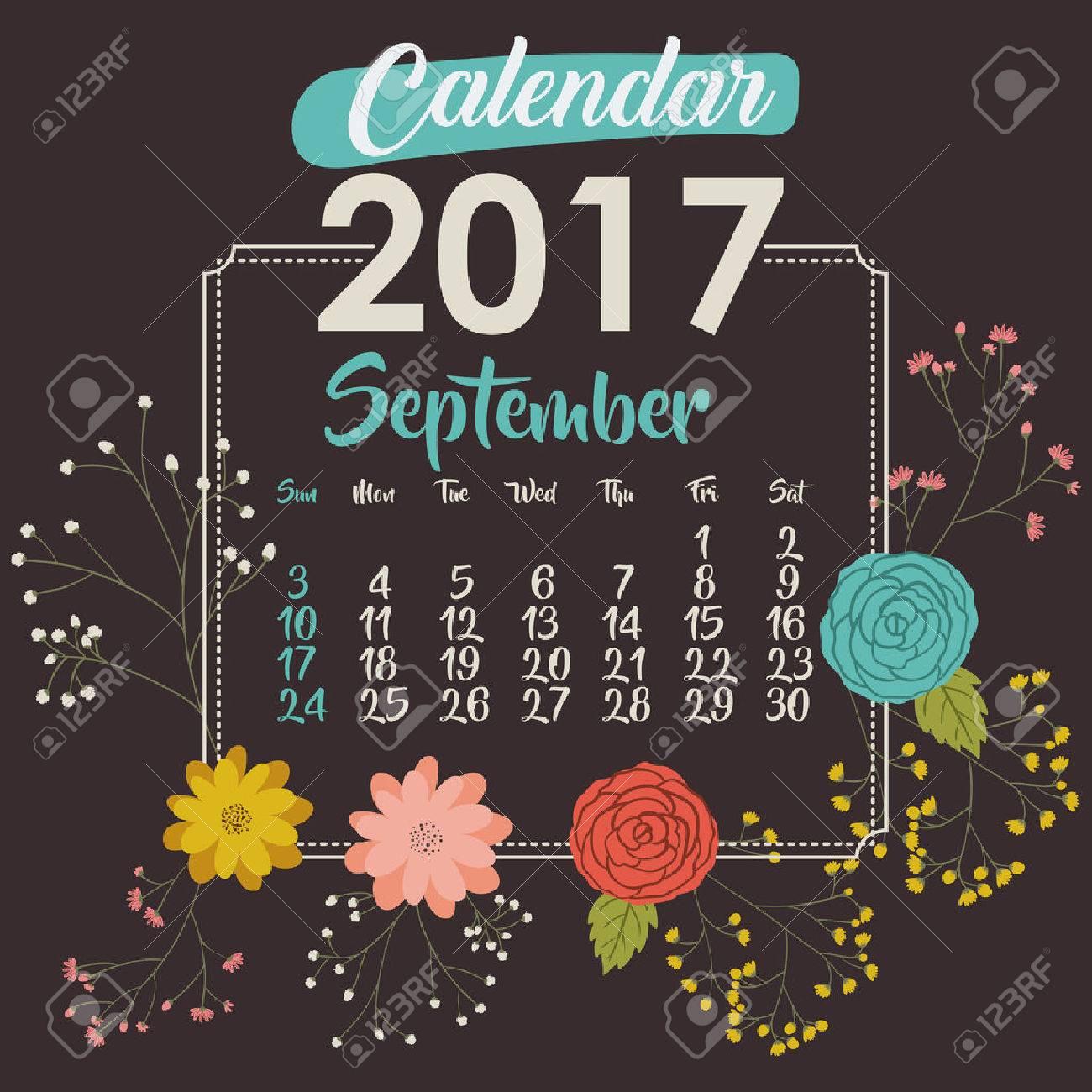 2017 Septembre Calendrier De L\'année Fleurs Floral Jardin ...
