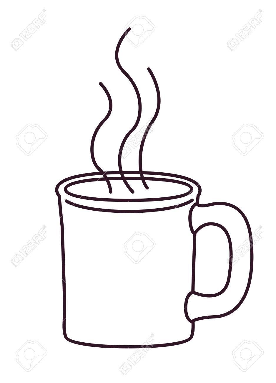 Vettoriale Disegno Della Tazza Di Caffè Caldo E Icona Della