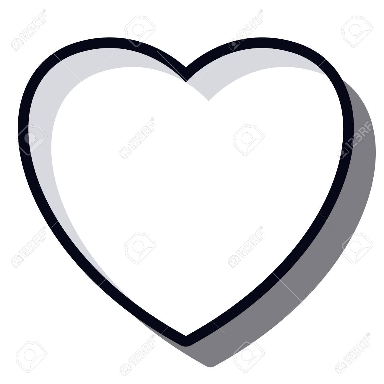 Icono De Corazón En Blanco Y Negro El Amor Y El Tema Romántico