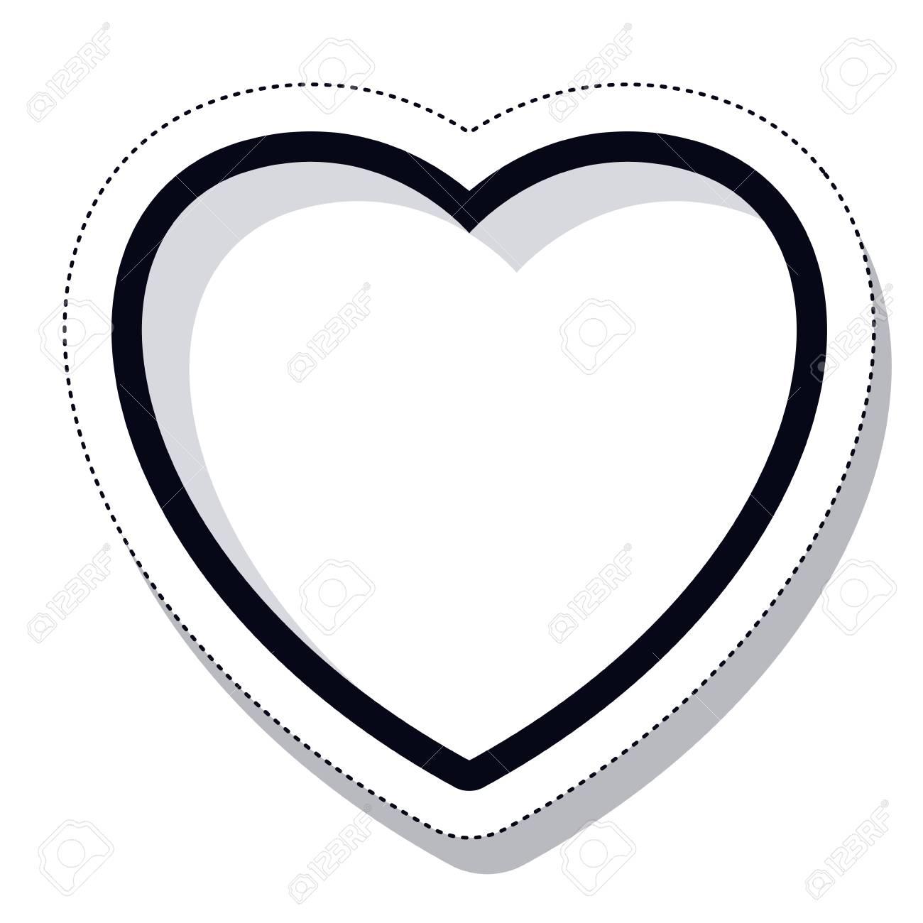 Icono De Corazón Blanco Y Negro Amor Y Tema Romántico Diseño