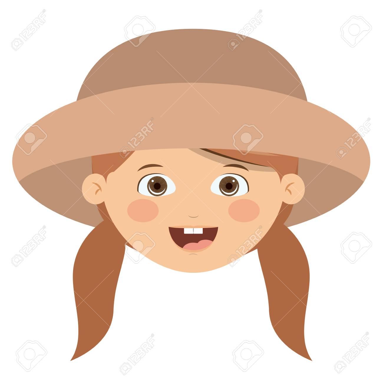 Vettoriale ragazza cartone animato felice con il cappello icona