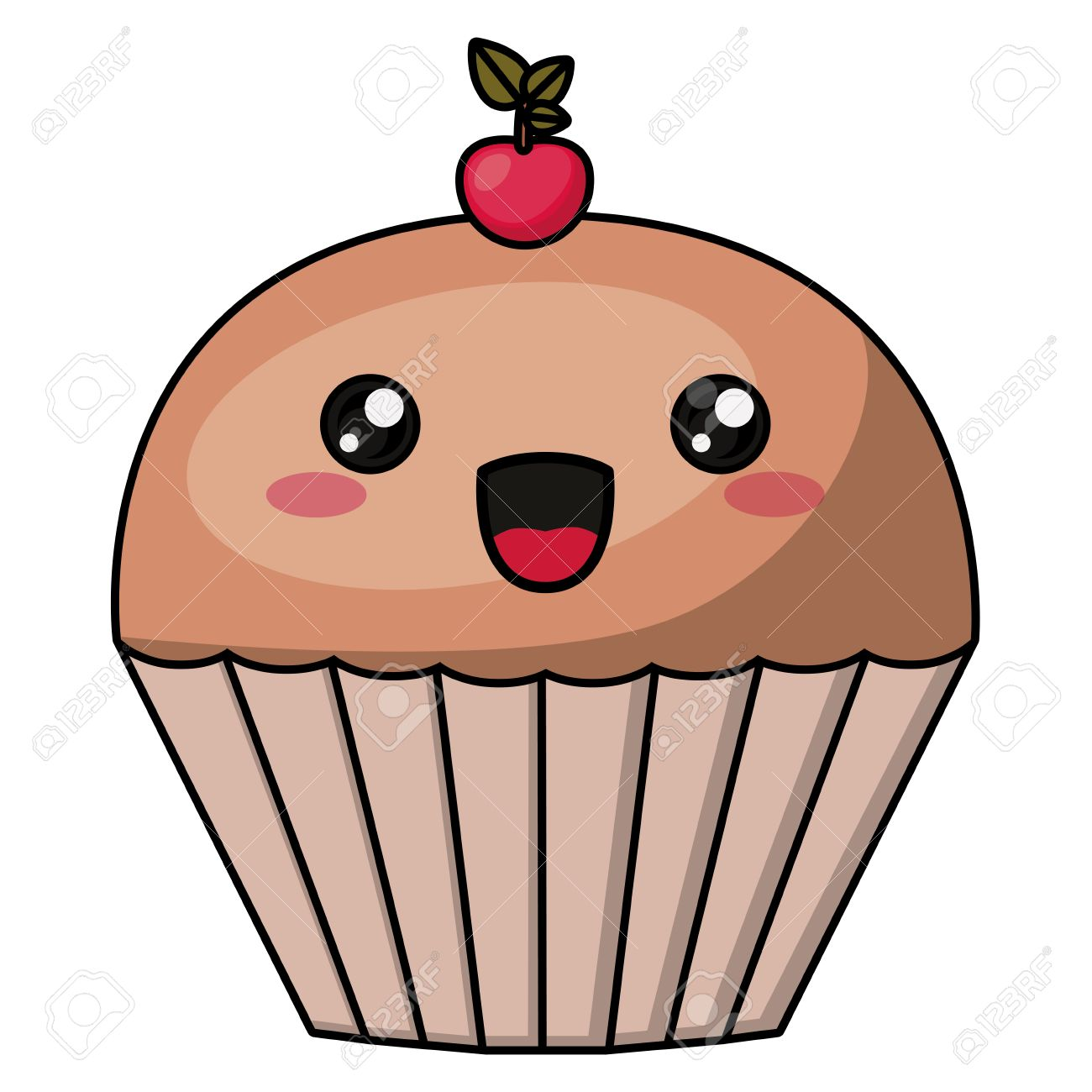 muffin with kawaii face icon cute cartoon and character theme