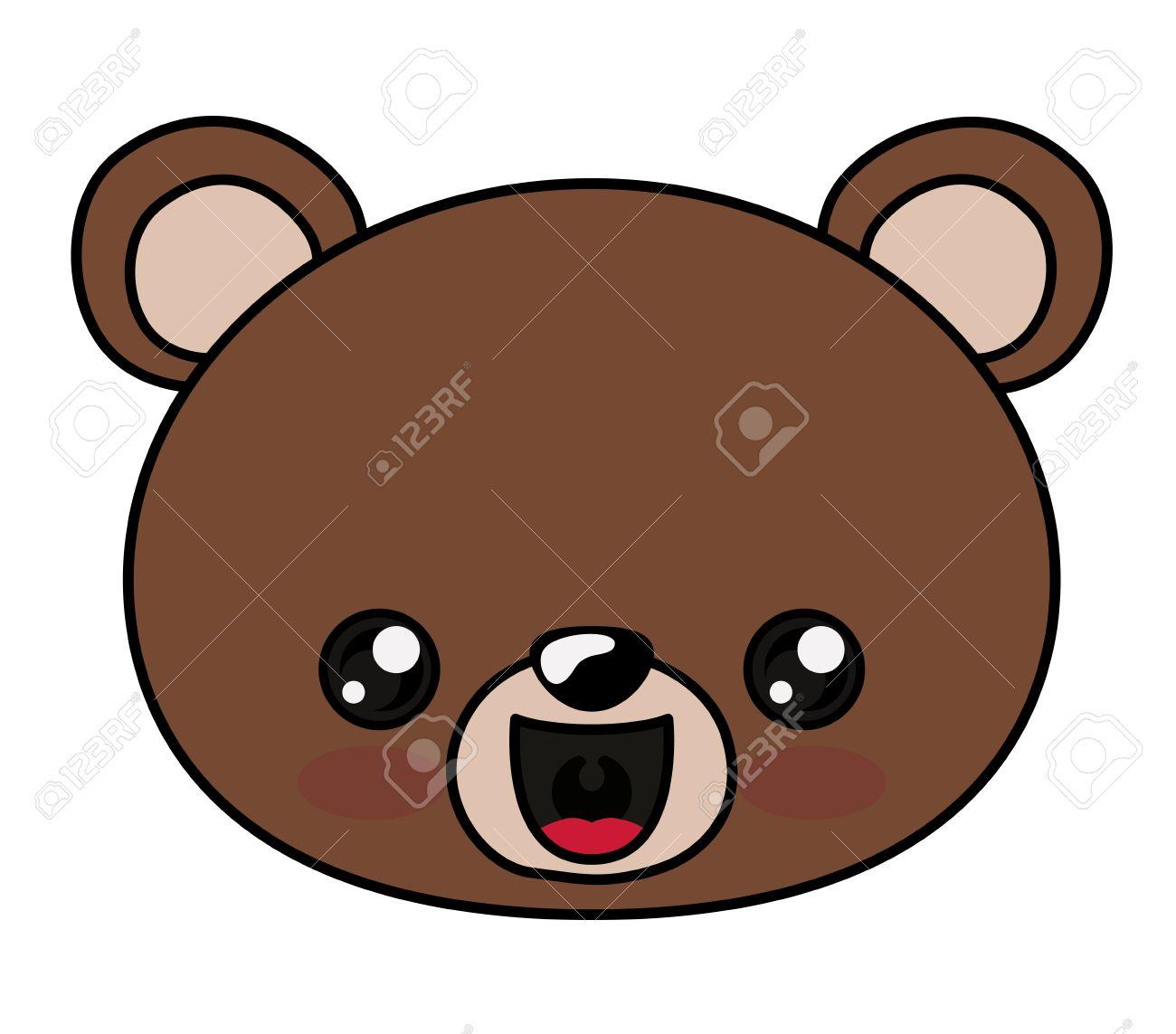 bear with kawaii face icon cute animal cartoon and character rh 123rf com cartoon bear face clipart cartoon bear face pictures