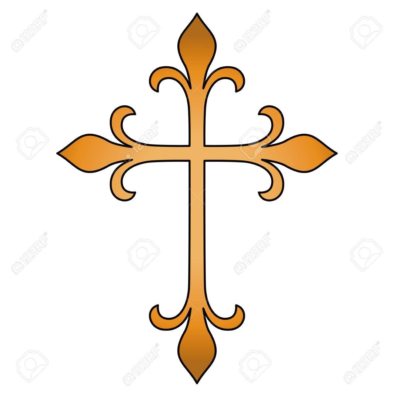 Cross Shape Design Religion Tattoo And Symbol Theme Isolated